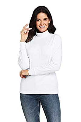 Lands' End Women Long Sleeve Relaxed Cotton Mock White Tall Large from Lands' End