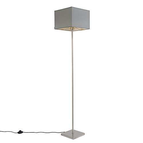 QAZQA Moderno Lámpara de pie moderna gris - VT 1 Textil/Acero Cuadrada/Alargada Adecuado para LED Max. 1 x 60 Watt
