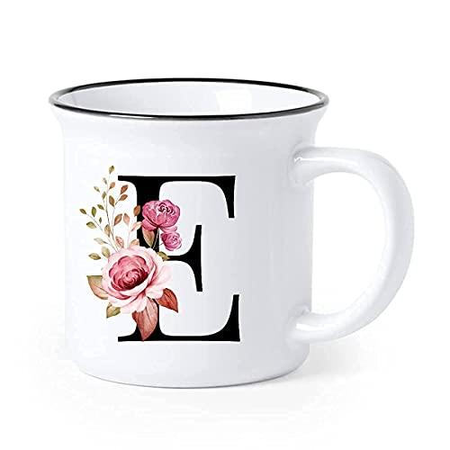 Buchstaben Tasse personalisierte Kaffee-Tasse Rosa Rote Blumen mit Buchstabe als persönliches Geschenk - Buchstabentasse - Keramik-Tasse
