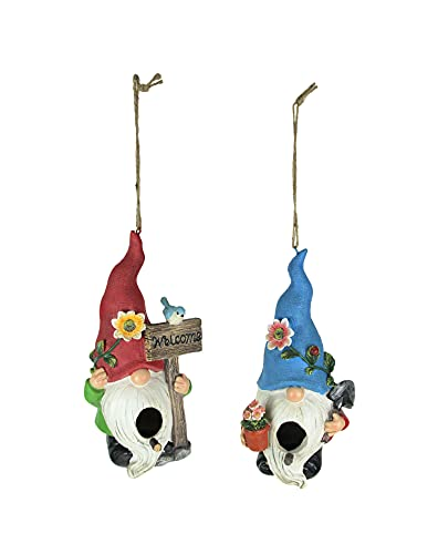Things2Die4 Set of 2 Red & Blue Hat Gnome Hanging Bird Houses Decorative Garden Statue Decor