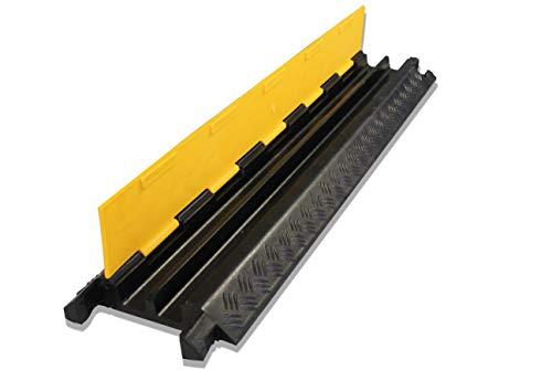 caleido Kabelbrücke mit Deckel überfahrbar Stolperschutz Gummi schwarz | 100 x 25 x 5 cm (Kabelbrücke 2 Kanal)