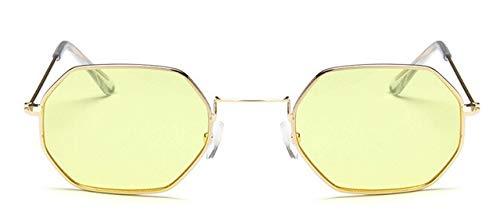 LYRStore886 di Hexagon Occhiali da Sole Donna Femminile Metallo Senza Telaio Trasparente Lens Sunglasses Generoso, Bellissimo (Lenses Color : Gold Yellow)