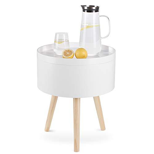 Homfa Tavolino di Stoccaggio da Divano Comodino, Tavolino Rotondo da caffè, Contenitore da Salotto in Legno, Salvaspazio, Bianco 38 × 38 × 46cm