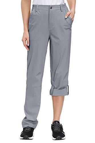 Libin Women's Hiking Pants Lightweight Quick Dry ConvertibleRoll Up Outdoor Capri Pants, UPF 50, Stretch, Water Resistant, Gery S Grey
