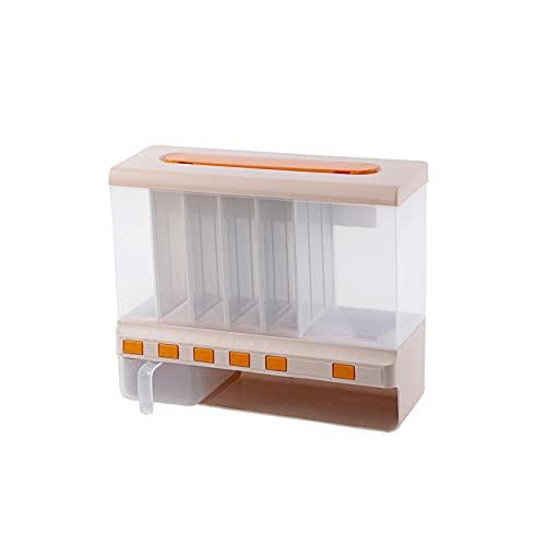 ZQYYUNDING Contenitori di stoccaggio Alimentare Cassetta di immagazzinaggio Alimentare, dispensatore di Cibo a Secco 6- Grid Dispenser Cereali Spazio di stoccaggio da Cucina (Color : Pink)