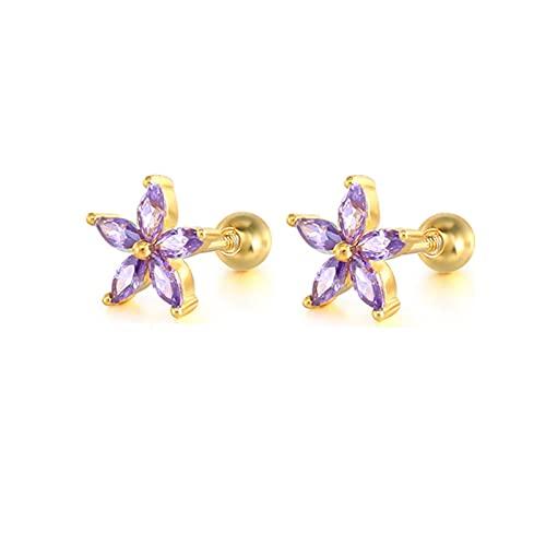 Pendiente de botón de plata esterlina S925 Pendiente de circonita púrpura romántico para Piercing de joyería de cristal Pendientes-24-Color dorado