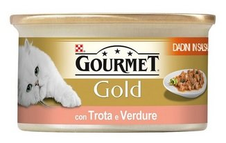 Purina Gourmet Gold Umido Gatto Mousse con Trota e Deliziosi Pomodori, 24 Lattine da 85 g Ciascuna, Confezione da 24 x 85 g