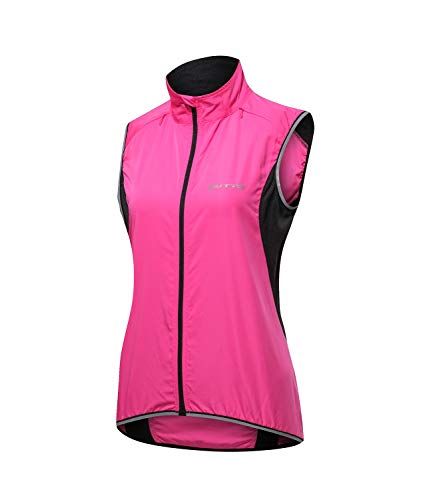 Outto Women's Reflective Running Cycling Vest for Safty and Windproof(Medium,Pink)