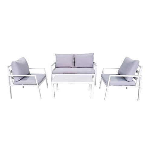 Salotto Avana con divano, poltrone e tavolo, bianco Bianco