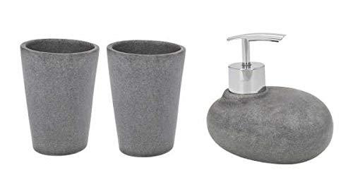 WENKO DIE BESSERE IDEE Set Accessoires Salle de Bain, Distributeur Savon Liquide, Lot de 2 Gobelets Brosse à dent, Pebble Stone Gris