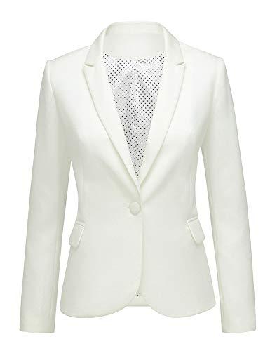 LookbookStore Women's Beige Notched Lapel Pocket Button Work Office Blazer Jacket Suit Size M