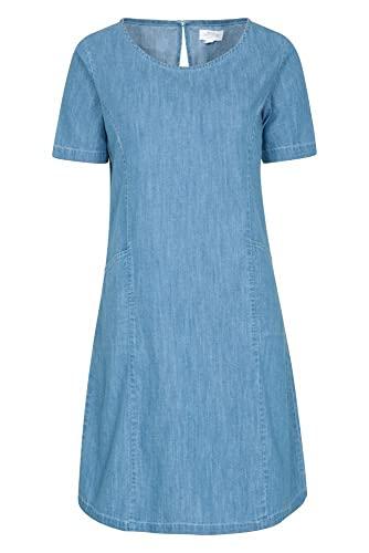Mountain Warehouse Flora Vestido Vaquero para Mujer - 100% de algodón, de Verano, Ligero, Transpirable, Corte Holgado, Cuello Redondo - Ideal para Viajar, al Aire Libre Azul Denim 34