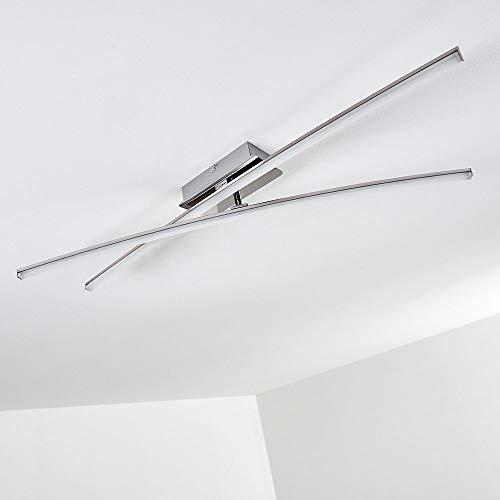 LED Deckenleuchte Powassan, moderne Deckenlampe in Chrom, 2-flammig mit einer verstellbaren Lichtleiste, 2 x 8 Watt, je 800 Lumen (1600 Lumen insgesamt), 3000 Kelvin (warmweiß)
