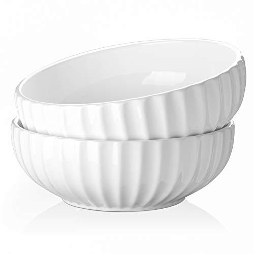 DOWAN - Set di ciotole per insalata/zuppa e pasta, in porcellana, misura grande, antiscivolo e impilabile, 2 pezzi, colore: bianco