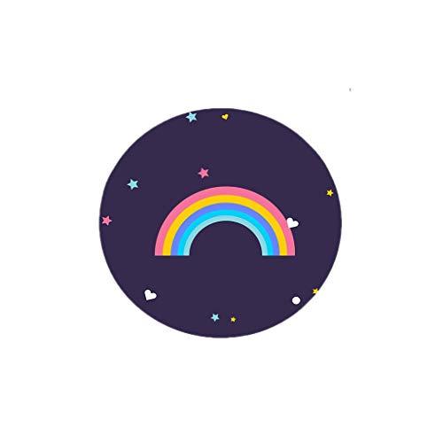 CZLSD Runde Teppiche - Modern Home Villus Floor Mat - mehrere Größen - Schlafzimmer/Wohnzimmer/Nacht/Drehsessel/Couchtisch, Rainbow Pattern Rug (Color : Rainbow, Size : 100cm Diameter)