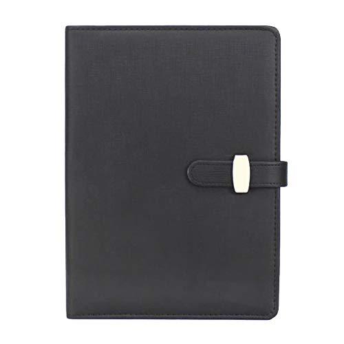 Cuaderno rellenable de piel sintética con hojas sueltas, bloc de notas clásico forrado con bolsillo y soporte para bolígrafo, para reuniones de negocios, viajes (A6, negro)