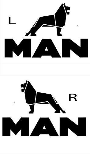 myrockshirt Man Logo Löwe Emblem Zeichen Links 6 rechts 2X 20cm Aufkleber,Sticker,Decal,Autoaufkleber,UV&Waschanlagenfest,Profi-Qualität