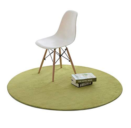 Moquettes tapis et sous-tapis Tapis rond dans la chambre à coucher Salon Table basse Table de chevet Ensemble de chaise pour ordinateur couleur solide (Couleur : Green, taille : Diameter 120cm)