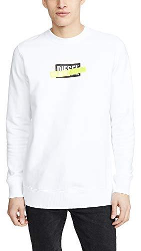 Diesel S-Gir-Die Sweat-Shirt Sudadera, Blanco (Bright White 100), X-Large para Hombre