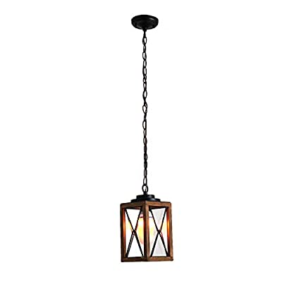 Outdoor Pendant Light Farmhouse Exterior Hanging Lantern with Clear Glass Shade for Porch, Patio, Entryway, ETL List