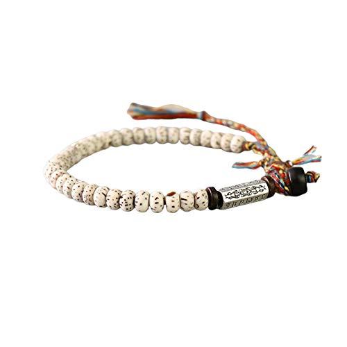 EXINOX Pulsera Tibetana Natural Perlas de Bodhi con Amuleto Grabado Hilo de la Suerte Hecha A Mano I Hombre Mujer
