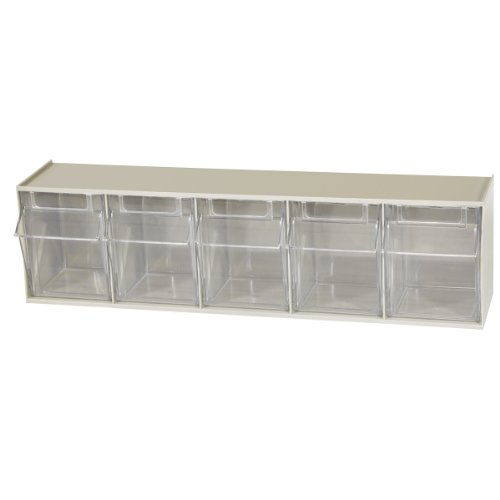 Akro-Mils 06705 TiltView Horizontal Plastic Storage System with Five Tilt Out Bins , 23-5/8-Inch Wide by 6-1/2-Inch High by 5-1/4-Inch Deep, Stone