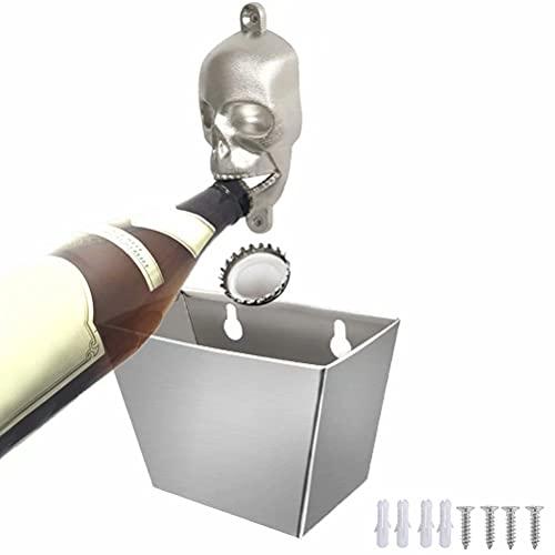 Abridor de Botellas de Pared con Contenedor de Recogida de Acero Inoxidable Para Barras/Jardín Exterior, Regalo Ideal Para Amantes de la Cerveza, Incluye 4 Tornillos de Fijación y 4 Tacos