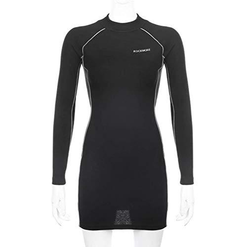 JUSTTIME manier van de casual vrouwen heupen reflecterende reflecterende jurk met lange mouwen vrouwelijke trend Large zwart
