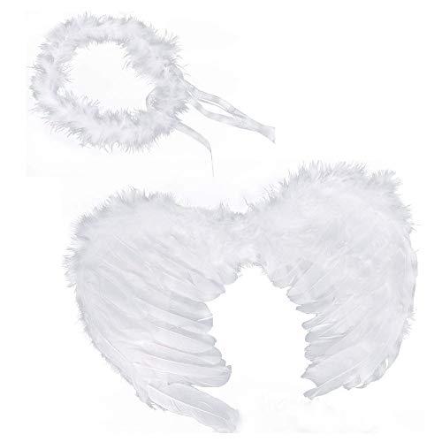 RUIZSH Weiß Engel Feen Federn Flügel und Heiligenschein für Halloween Karneval Cosplay Party Fasching Kostüme (Weiß)