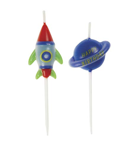 Outer Space Pick Birthday Party Candles, 6 Ct.