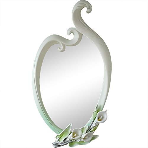 Elegante Calla muur opknoping spiegel met de hand gesneden 3D mooi blad accent badkamer wastafel spiegel 35 inch in hoogte
