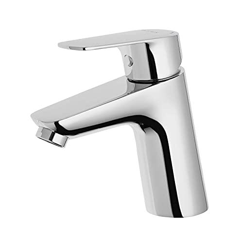 VILSTEIN Waschtischarmatur mit Zugstangenauslassung | Wasserhahn Bad | chrom | Hochdruck Einhebelmischer | Aufsatz | mit Perlator & Kartusche