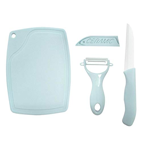3Pcs of Knife Cutting Board and Peeler Set, Including 1 Ceramic Knife with Sheath Sharp Vegetable Fruit Paring Knife, 1 Small Chopping Cutting Board for Kitchen, 1 Potato Vegetable Peeler(Blue)
