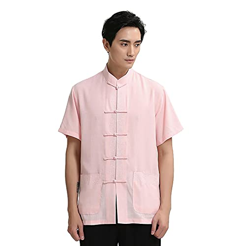Kung Fu Shirt Tang Traje Chino Tradicional Chun Tai Tai chi Artes Marciales Ropa para Hombres Mujeres (Color : Pink, Size : XL)