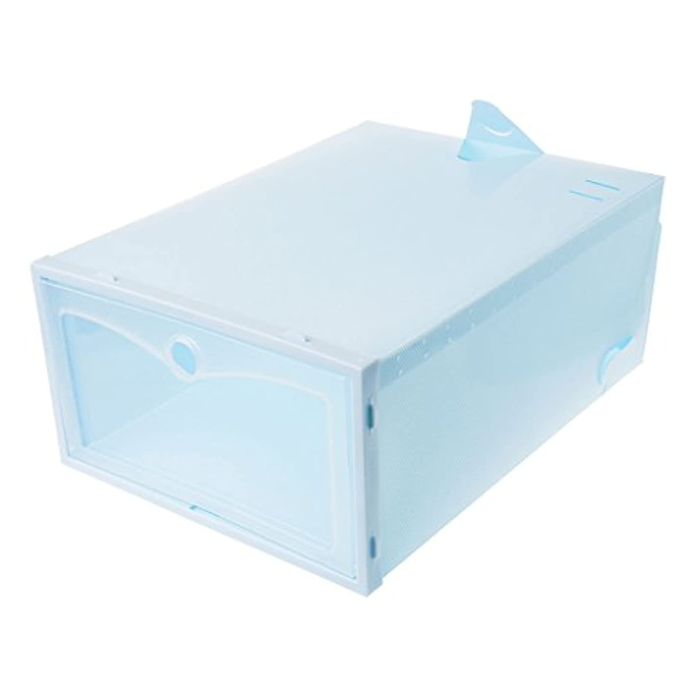 UJuly Shoe Box Clear Plastic Door Stackable Storage Case Shoes Organizer Folding Drawer Type Home Supplies Accessories (Blue)