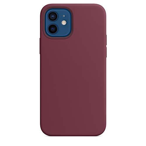 AIW 2020 Convient pour iPhone 12 et 12 Pro de 6,1 pouces Coque en silicone avec mag-safe, logo sur la partie arrière (croûte)