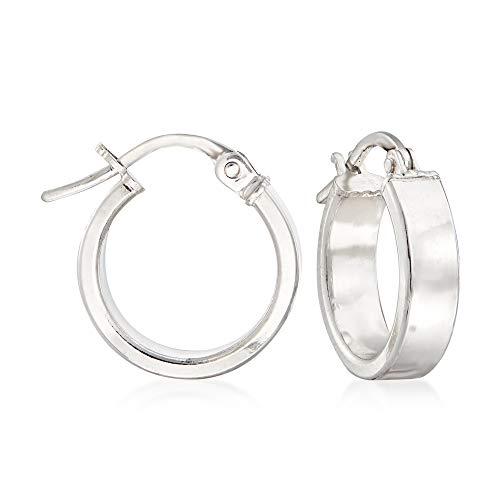 Ross-Simons Italian 18kt White Gold Hoop Earrings