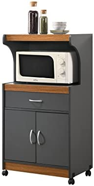 Hodedah Microwave Kitchen Cart Grey Oak product image