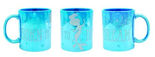 Disney Princess Arielle Tasse Metallic BORN TO DREAM blau, Glitterdruck, Metallicglanz, 100 % Keramik, ca. 320 ml, Geschenkbox., 42346
