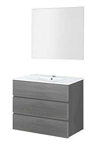 Baikal 830134033 Conjunto de Muebles de Baño con Lavabo y Espejo Luna Lisa, Suspendido a la Pared, Tres Cajones, Melamina 16mm, Acabado en Roble Gris Ceniza, 90 X 76 X 46 cm