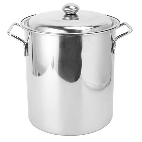 Hemoton 1 olla grande con tira de la tapa, mango grande, grueso multiusos de acero inoxidable, cubo de arroz, olla de sopa para cocina