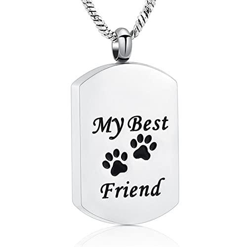 TIANZXS Collar de cremación Etiqueta de Perro con Estampado de Pata de Mascota Recuerdo de Ceniza conmemorativo Joyería Conmemorativa para Cenizas de Mascotas Cenizas humanas