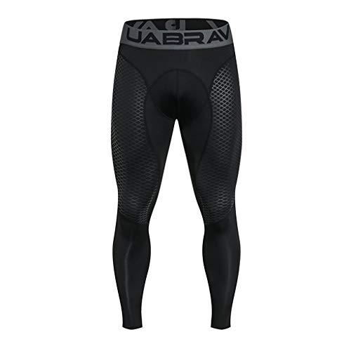 Pantalon de Compression Homme - Sunenjoy Legging de Sport Pantalon Collant pour Fitness Course Professionnelle Tout au Long de la Saison Thermique Pantalon (XL, Noir)