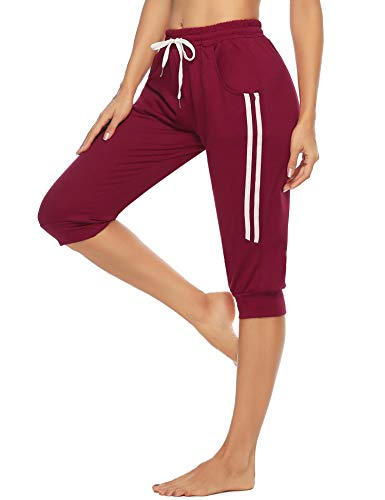 Doaraha Damen Caprihose 3/4 Jogginghose Trainingshose Elegant Relaxhose Sportleggings Yogahose mit Kontraststreifen für Sport und Freizeit, Weinrot, XL