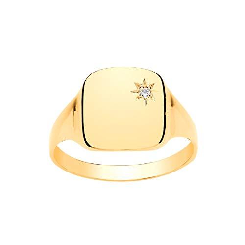 9ct oro amarillo diamante caballero Conjunto amortiguador del anillo de sello (RY)