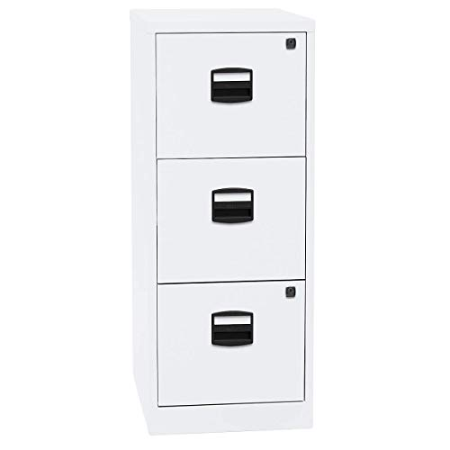 Bisley Home Hängeregistraturschrank PFA, 3 HR-Schubladen, Metall, 696 Verkehrsweiß, 40 x 41.3 x 101.5 cm