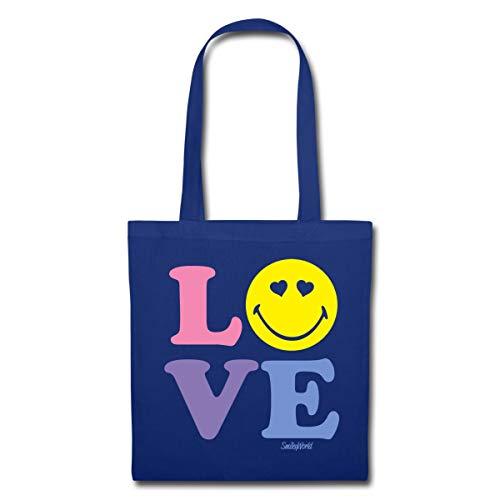 Spreadshirt Smiley World Love Liebe Herzchenaugen Smiley Stoffbeutel, Royalblau