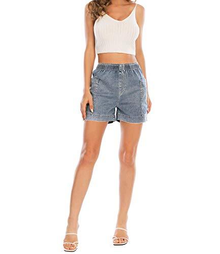 MetHera Women's Cool Breeze Elastic Casual Pull-on Denim Shorts (12, Medium Fade)