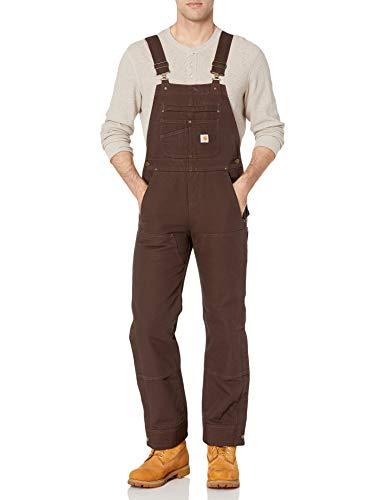 Carhartt Women's Quilt Lined Washed Duck Bib Overall, Dark Brown, Medium
