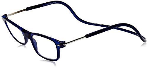 TBOC Gafas de Lectura Presbicia Vista Cansada – Montura Azul Graduadas +3.00 Dioptrías Hombre Mujer Regulables Imantadas Magnéticas Plegables Lentes Aumento Leer Ver Cerca Cuello Cierre Imán